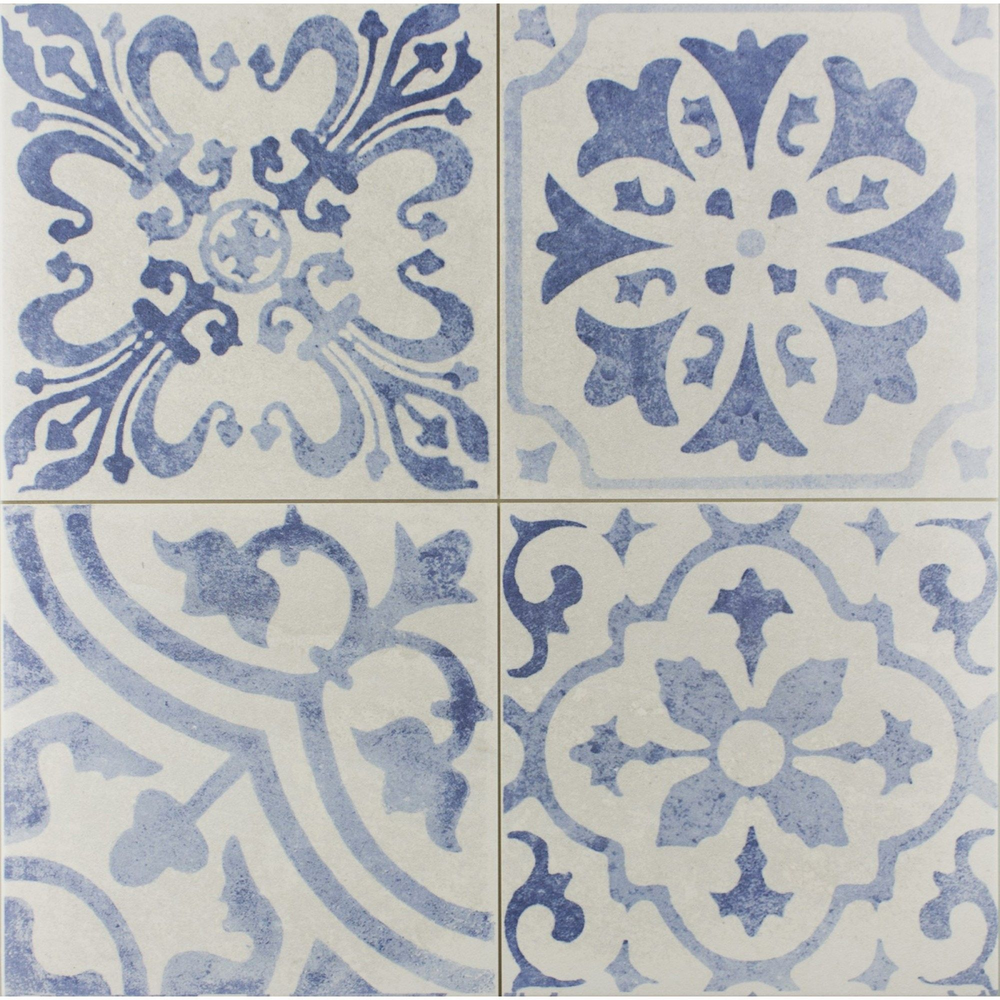 Skyros Delft Blue Patterned Porcelain Floor And Wall Tile 440X400,