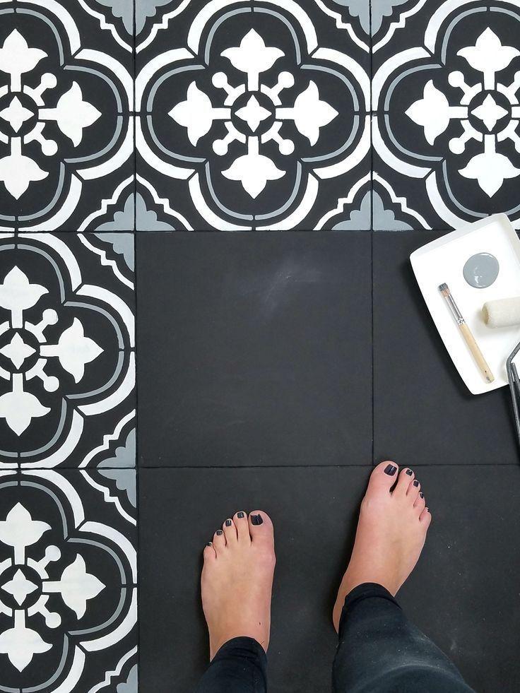 Santa Ana Tile Stencil In 2019 Painting Tile Floors