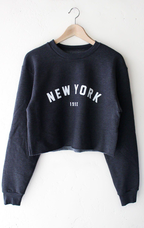 New York 199x Cropped Oversized Sweatshirt Dark Heather Grey Crop Sweatshirts Sweatshirts Street Sweatshirt [ 1500 x 950 Pixel ]