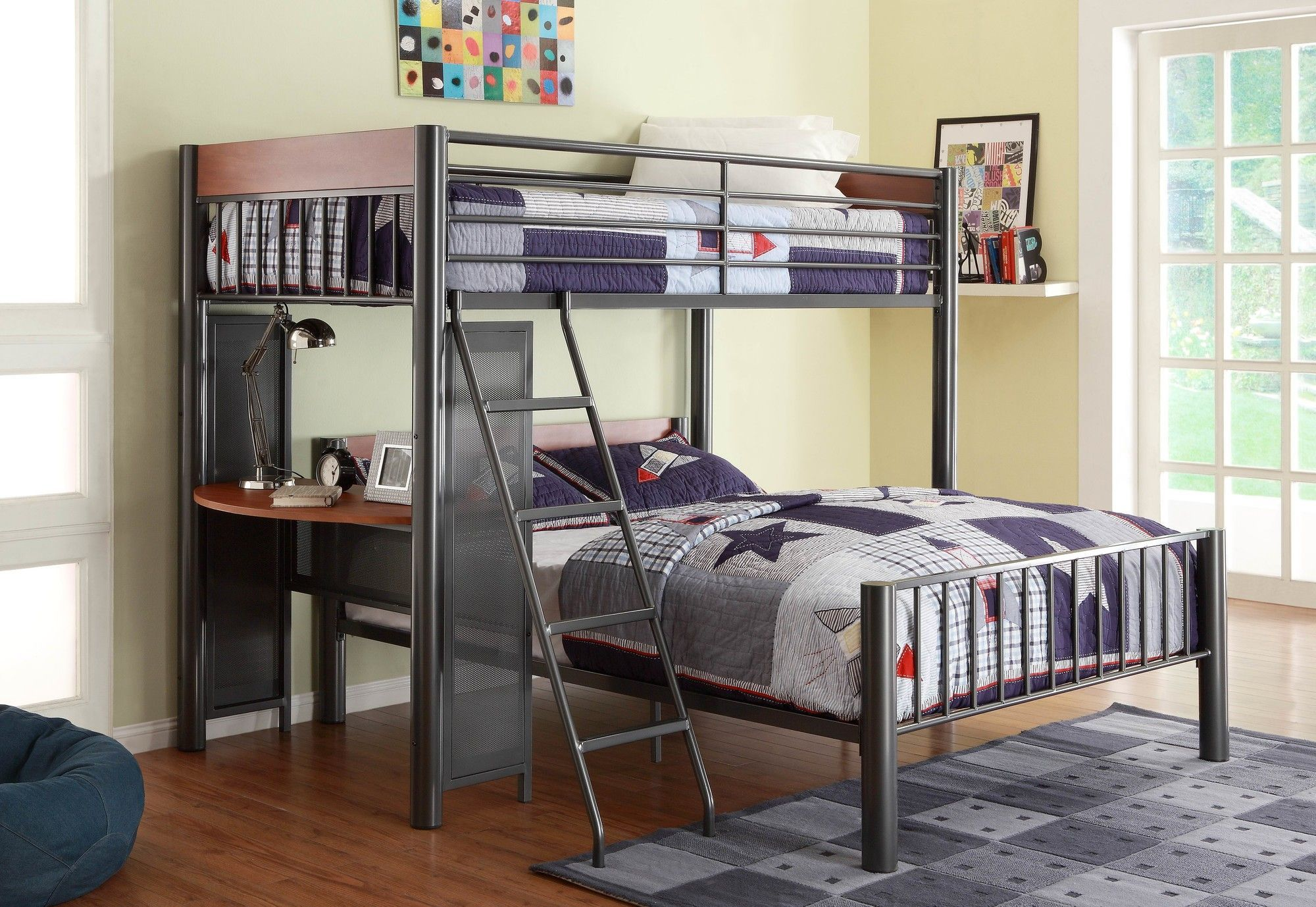 Loft bunk bed with desk  Woodhaven Hill Division Twin over Full LShaped Bunk Bed