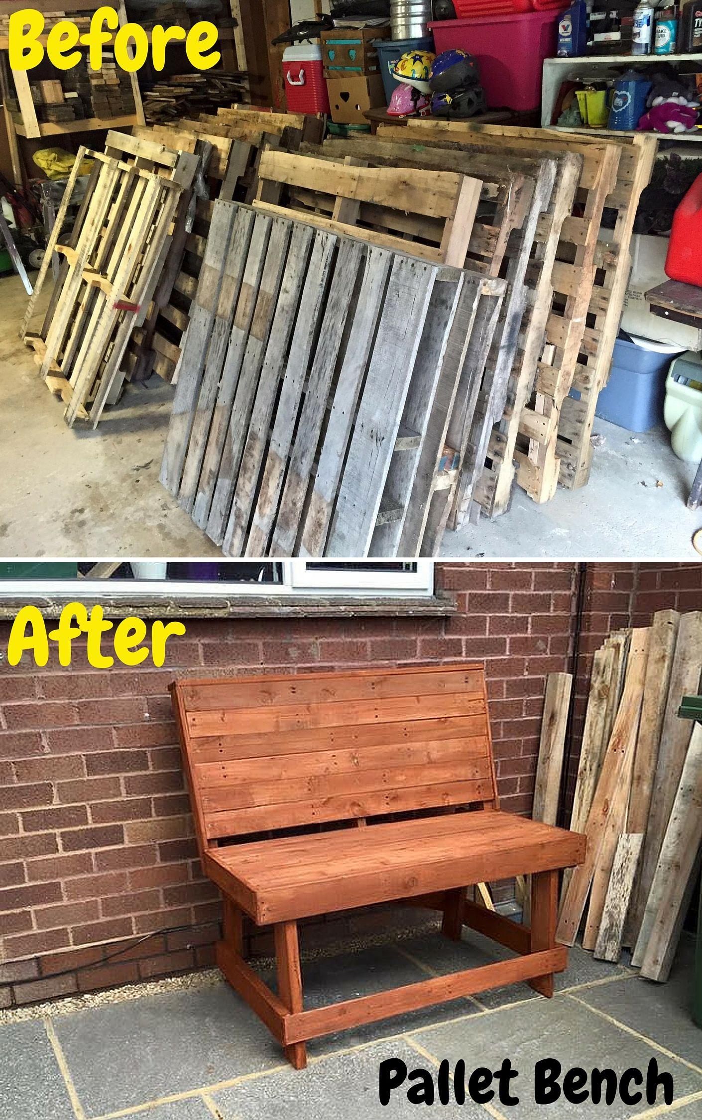 Outdoor #pallet Bench Tutorial - 101 Pallet Ideas