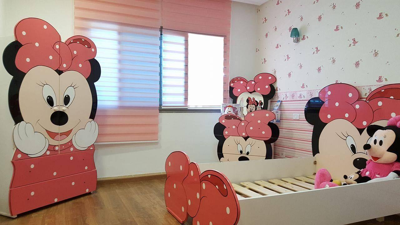 Decoration Chambre Minnie Mouse Lit Junior 110 140 Element 2porte Commode Miroir Papier Peint Decor Home Decor Deco