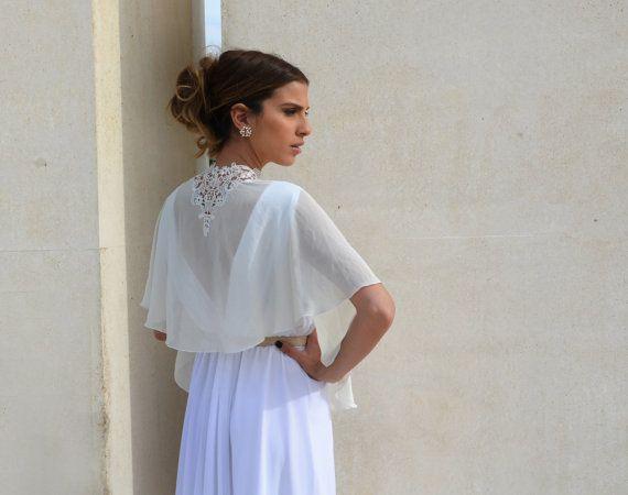 Bridal Chiffon cape bride shawl with embroidery lace by Barzelai