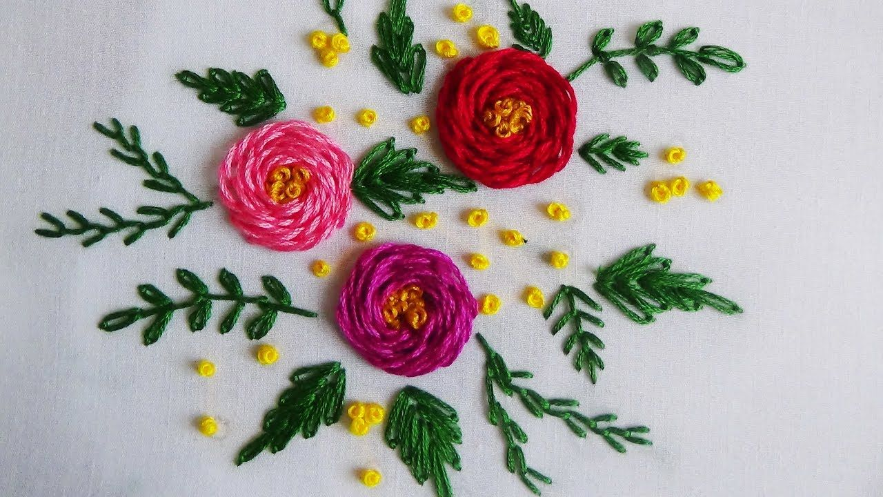 Hand Embroidery Rosette Rose Stitch Hand Embroidery Flowers Embroidery Leaf Embroidery Flowers