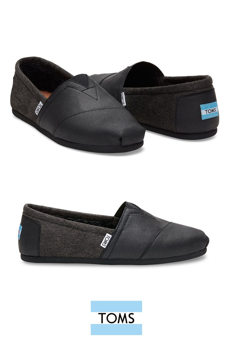 ad9407eca58 Shop TOMS vegan options like these coated canvas and herringbone slip-on  shoes with a faux shearling lining for men.