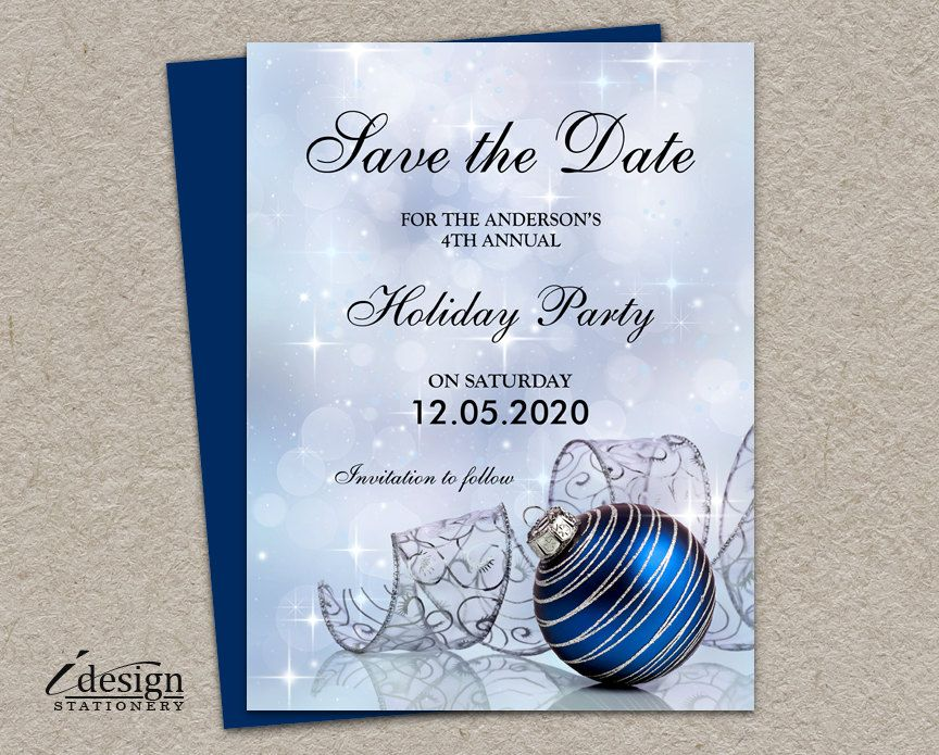 Festive Holiday Party Save The Date Cards by iDesignStationery on
