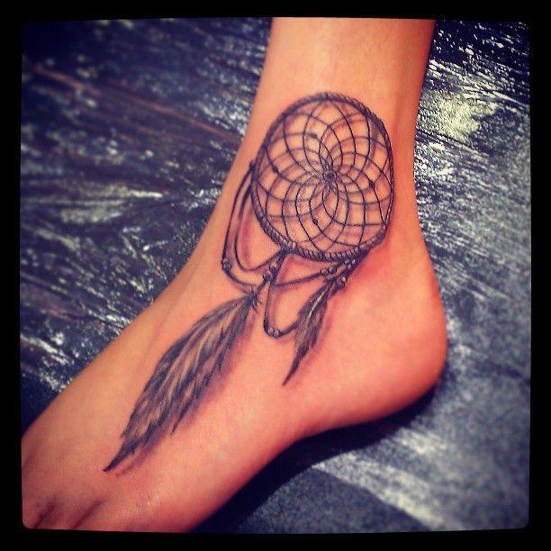 Dream Catcher Foot Tattoos Beautiful Grey Ink Dreamcatcher Tattoo On Left Foot Dream 8