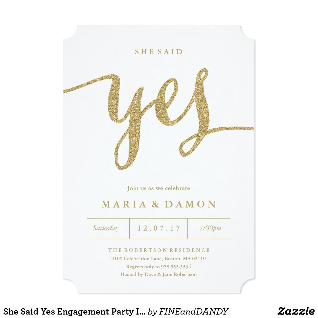 She Said Yes Engagement Party Invitation This classy design features ...