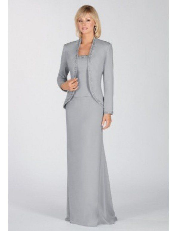 Chiffon and Satin Square A-line Long Mother Of The Bride Dress with Matching Jacket #groomdress