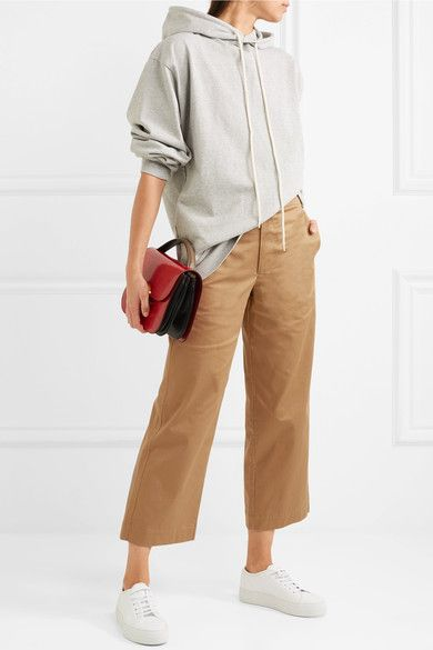 Cropped Cotton-blend Wide-leg Pants - Camel Bassike 1aXcUud