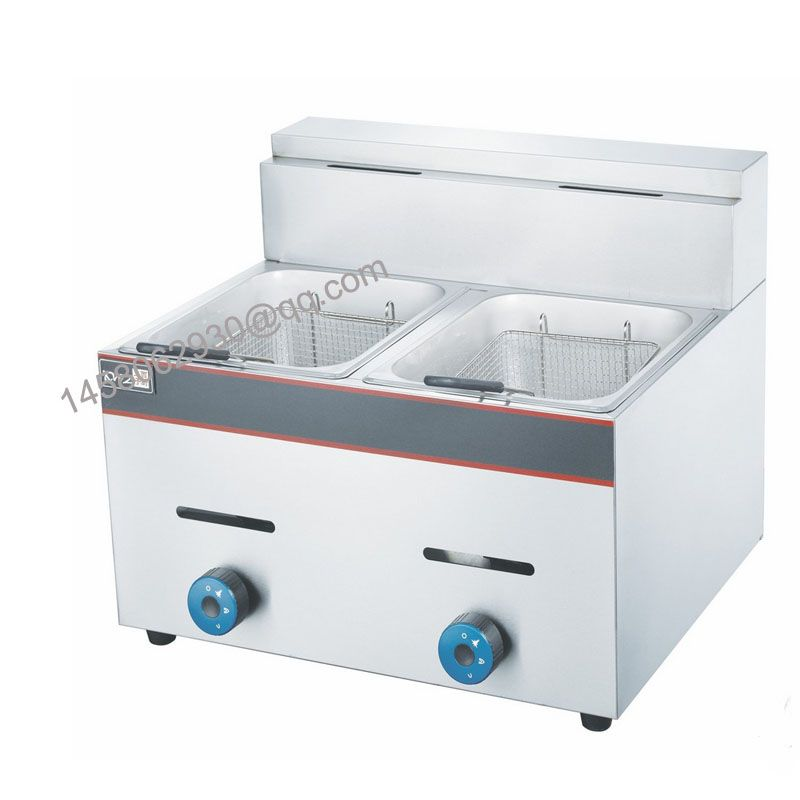 Commercial Counter Top Gas Fryer Two Tank Two Basket 12l Donut