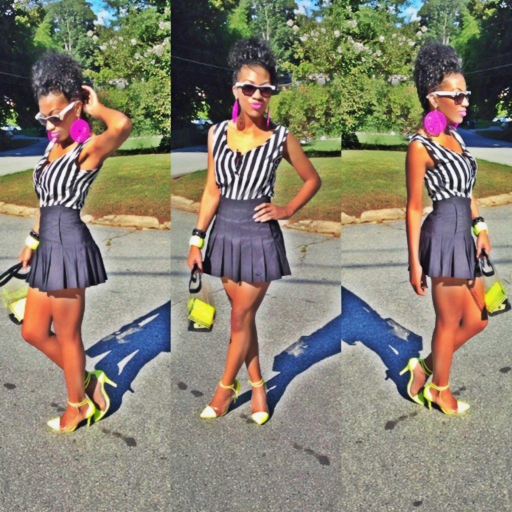 Tennis skirt and heels