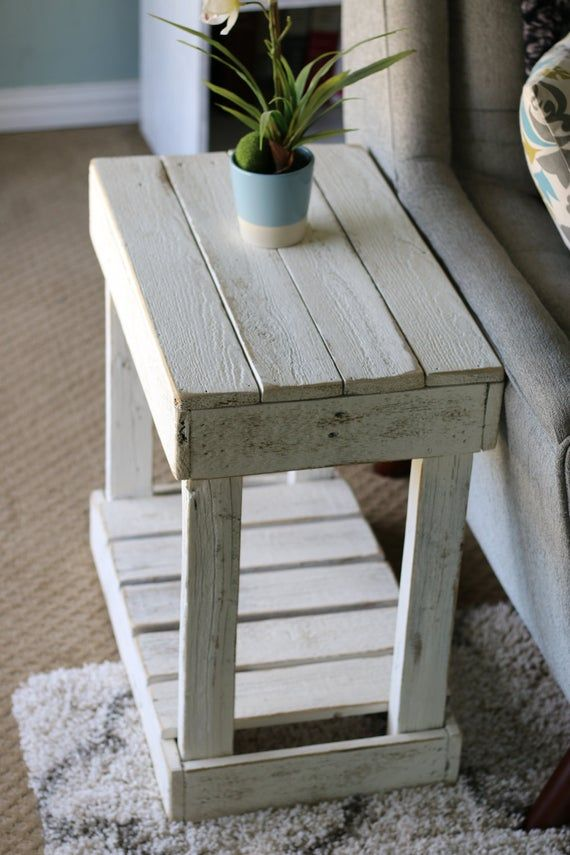 White Slatted End Table #palletideas