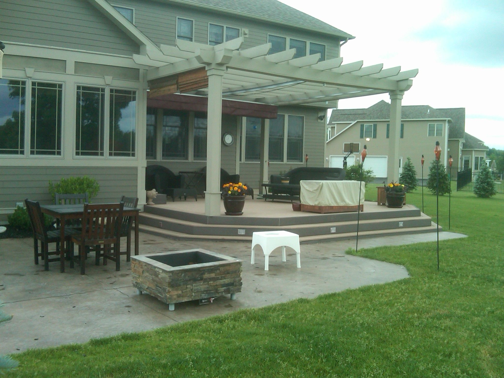 Nucrete U2013 Stamped Concrete Patio With Pergola