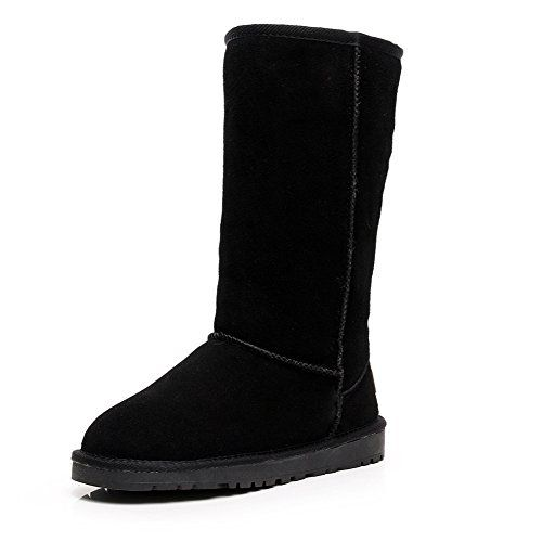 Rismart Women Classic Minimalism KneeHigh Winter Thick Fur Lined Suede Snow Boots Black SN1015 US10 *** Read more reviews of the product by visiting the link on the image.