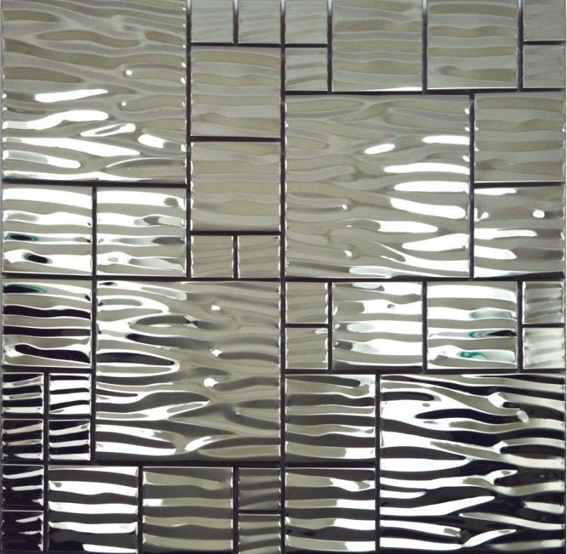 Silver Metal Mosaic Stainless Steel Kitchen Wall Tile Backsplash SMMT013 3D  Waved Mosaic Tiles Metallic Mosaic