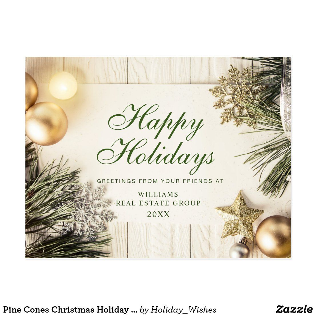 Pine Cones Christmas Holiday Corporate Greeting Postcard #zazzle #zazzlemade #christmas #newyear #customparty #partysupplies #custominvitation #invitations #holidaycards #customdecor #holidays #printondemand #customstationery #invitationtemplate #partyinvitation #partydecor #partydecorations #customgifts