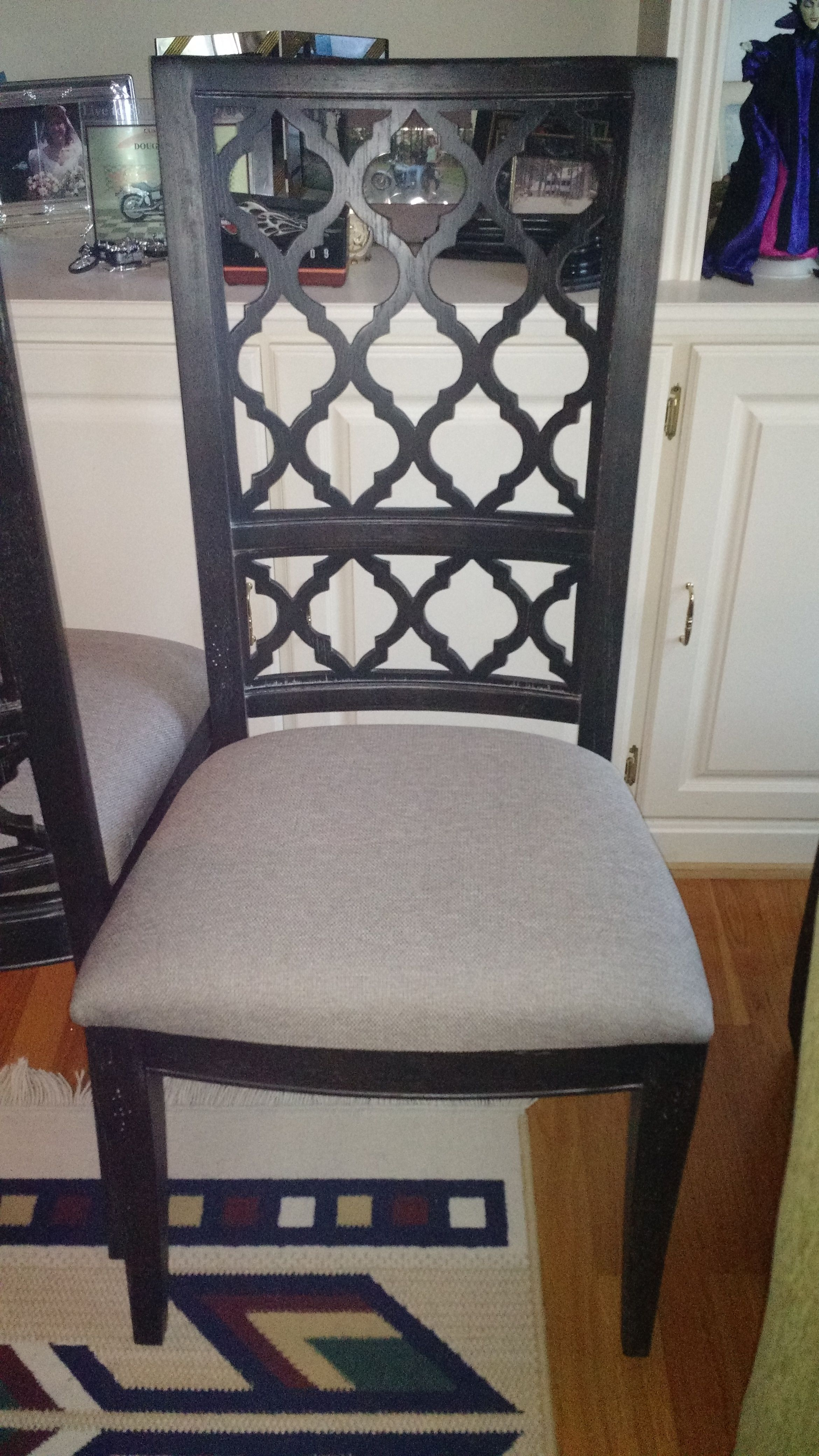 Purchased 2 Bassett Emporium Open Fret Side Chairs As End Chairs