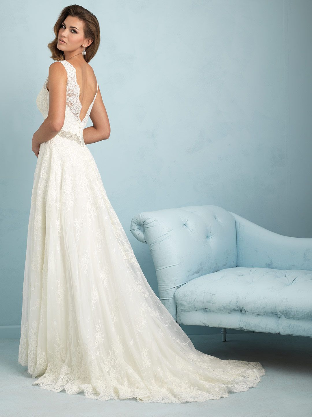Allure Bridal This sleeveless lace gown is cut for maximum comfort ...