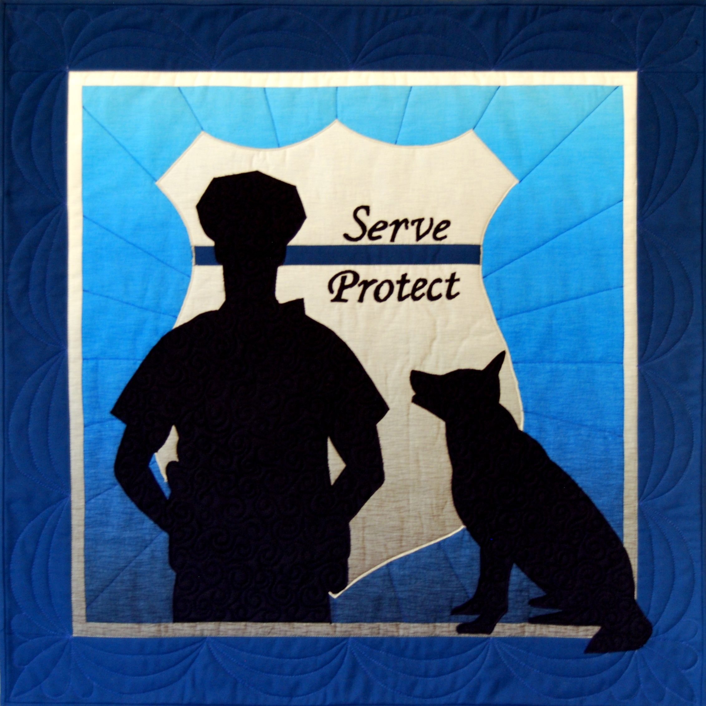 """Now is a great time to honor our men and women in blue who bravely serve and protect. Pattern is for 26"""" x 26"""" wall hanging. http://www.happystashquilts.com/…/n…/products/police-officer"""