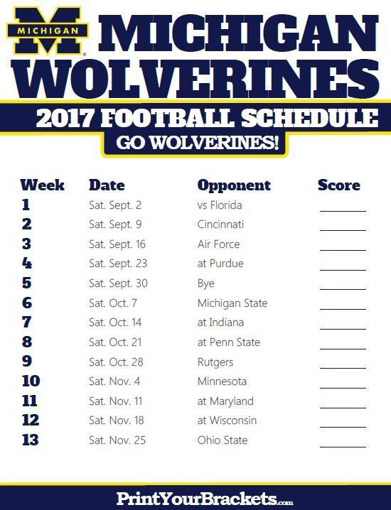 2017 Michigan Wolverines Football Schedule Ohio Bobcats Football Kansas State Football Washington Huskies