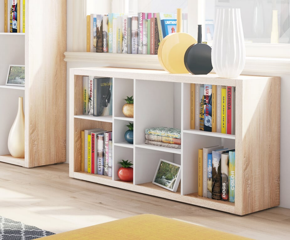 Ruby Low Wide Bookcase Open Back Room Divider Oak With White