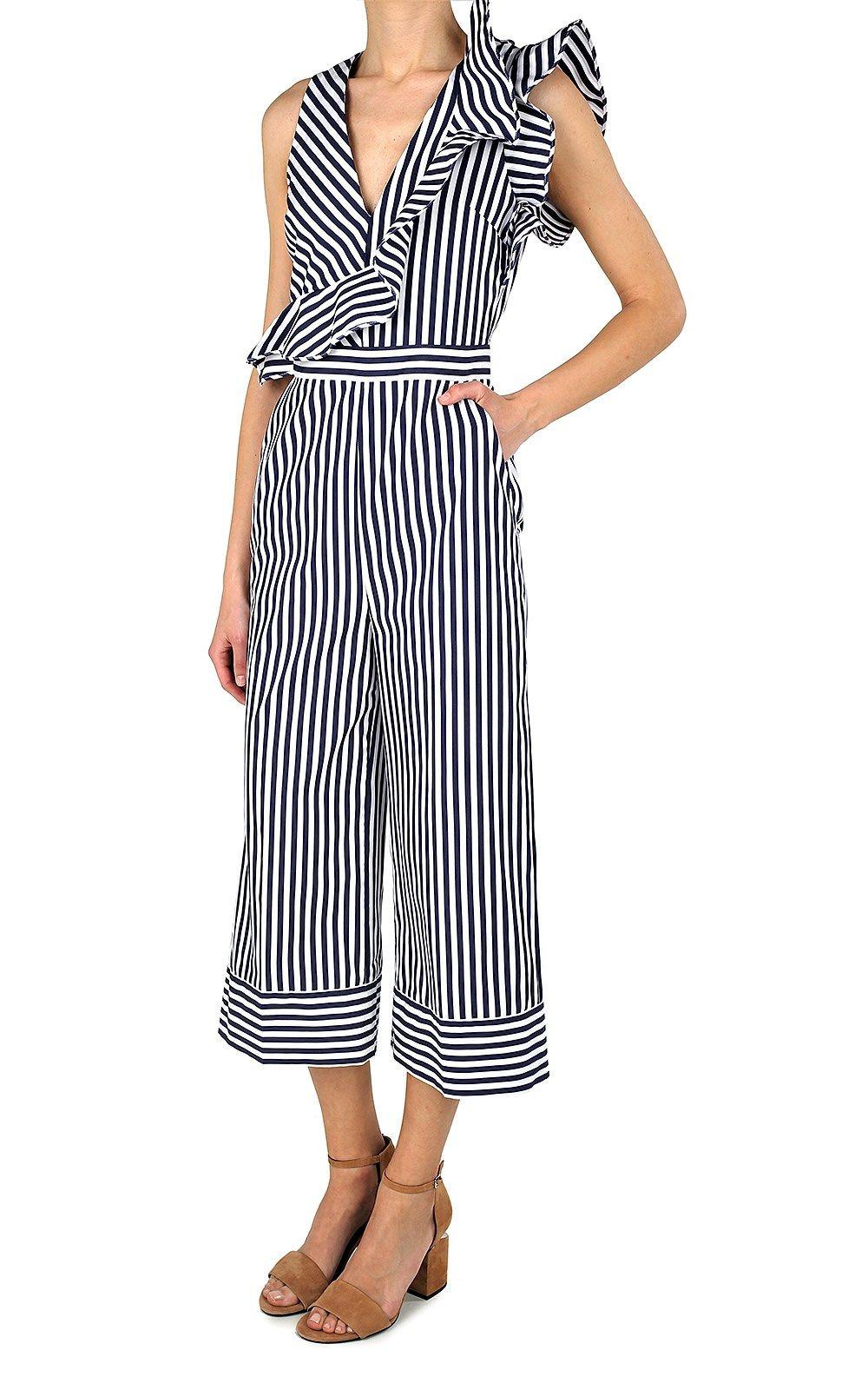 Ruffle-trimmed striped cotton-poplin jumpsuit MSGM