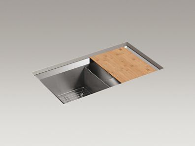 "KOHLER | K-3159-NA | Poise® 33"" x 18"" x 9-1/2"" under-mount double-equal bowl kitchen sink, includes cutting board and bottom bowl rack"