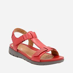 Un Haywood Red Leather - Womens Flat Sandals - Clarks® Shoes Official Site