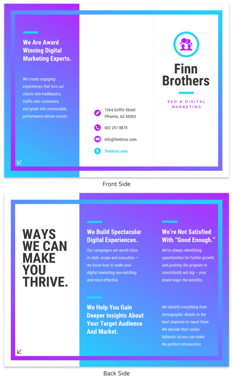 gradient marketing trifold brochure infographic template new