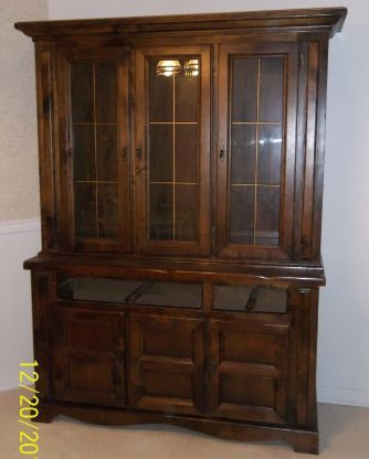 PRICE REDUCED Pine Dark Walnut Stained China Cabinet And Hutch
