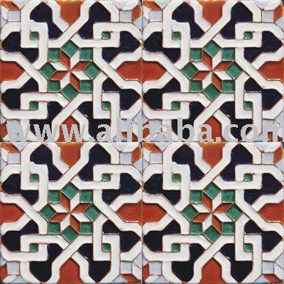 Portuguese Moorish Arab Alhambra Granada Handcrafted Cuenca Ceramic Glazed Tiles Moorish Tiled Quilt Patterned Wall Tiles