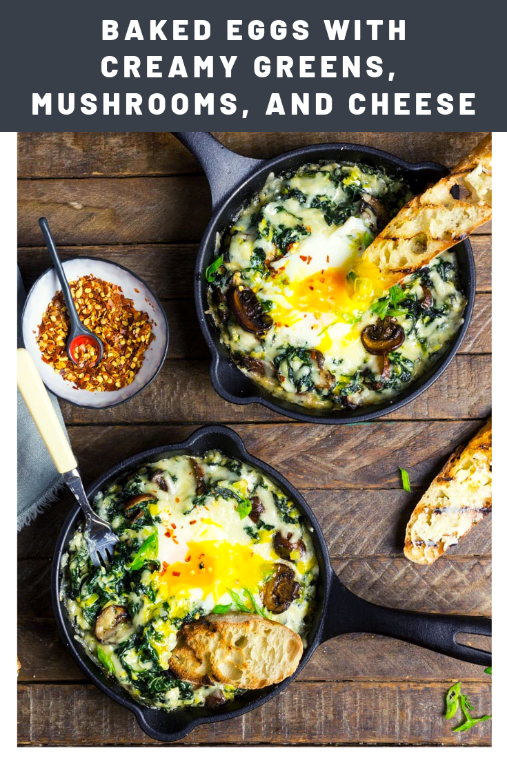Photo of Baked Eggs With Creamy Greens, Mushrooms, and Cheese