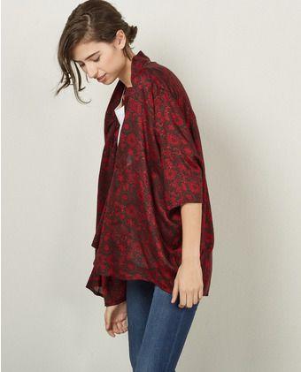 Kimono de mujer Sfera estampado en rojo