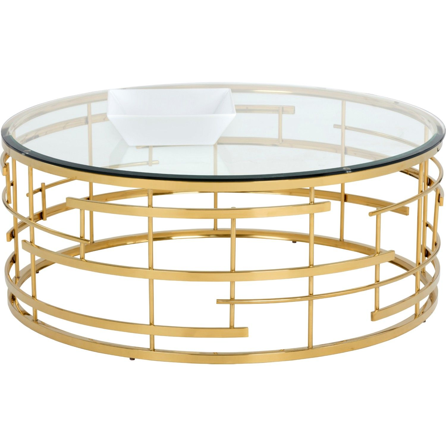 Sunpan Cielo Coffee Table w Round Glass Top on Gold Metal Base