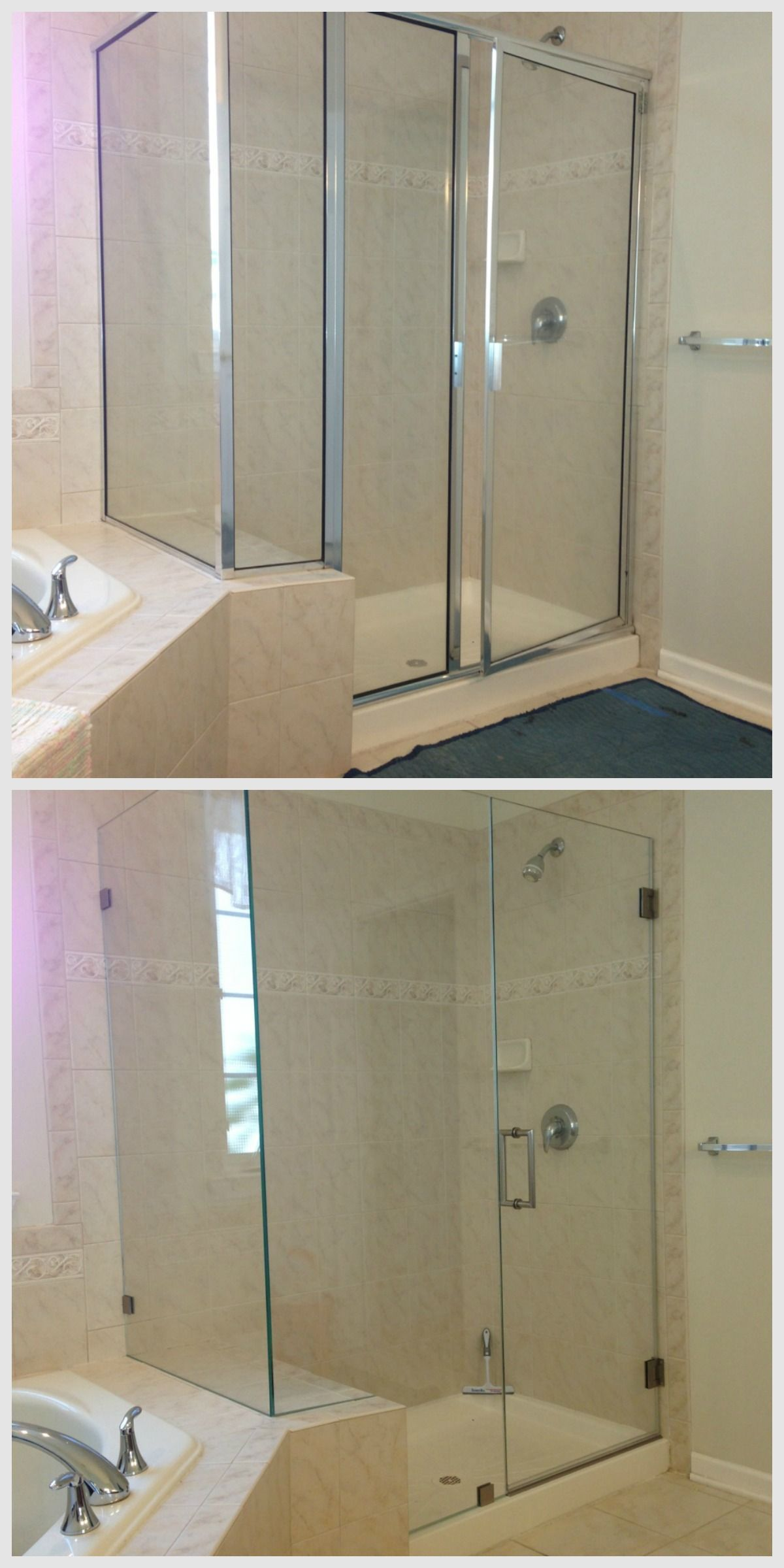Out With The Old In With The New Showerman Frameless Shower Door Sleek Lines Breathes Fresh Modern Style Shower Doors Shower Enclosure Framed Shower Door