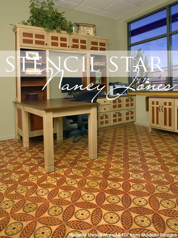 Stencil Star The Sophisticated Stenciled Floors Of Artworks Spokane Stenciled Floor Painted Floors Flooring
