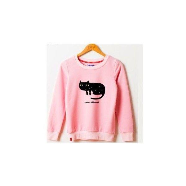 Cat Print Pullover (€28) ❤ liked on Polyvore featuring tops, hoodies, sweatshirts, sweatshirt, women, pullover tops, pink top, pink pullover, cat sweatshirt and cat print top