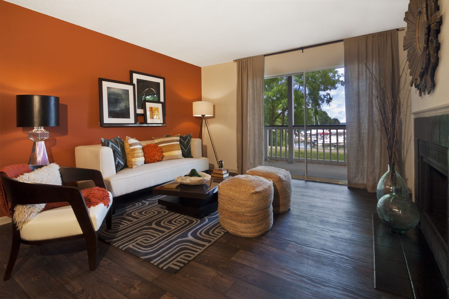 Marina Shores Waterfront Apartments Accent Walls In Living Room Living Room Orange Orange Accent Wall Living Room