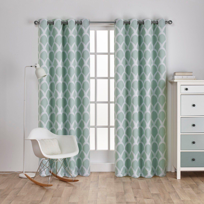 Girls seafoam green moroccan window curtain inch pair panel set
