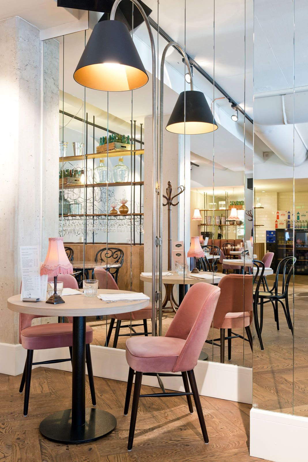 pink mid blue white and timber cafe interior - Midcentury Restaurant Interior