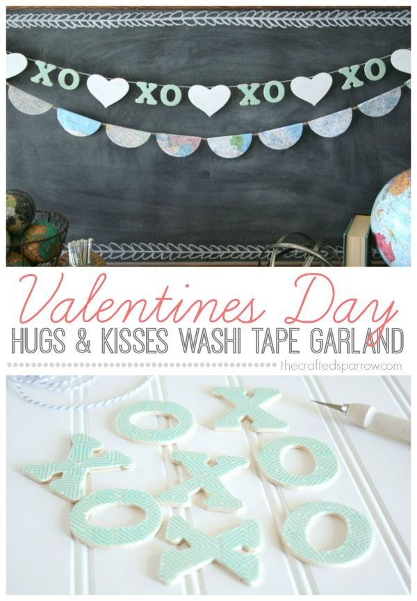 Valentine's Day Hugs & Kisses Washi Tape Garland - The Crafted Sparrow#crafted #day #garland #hugs #kisses #sparrow #tape #valentines #washi