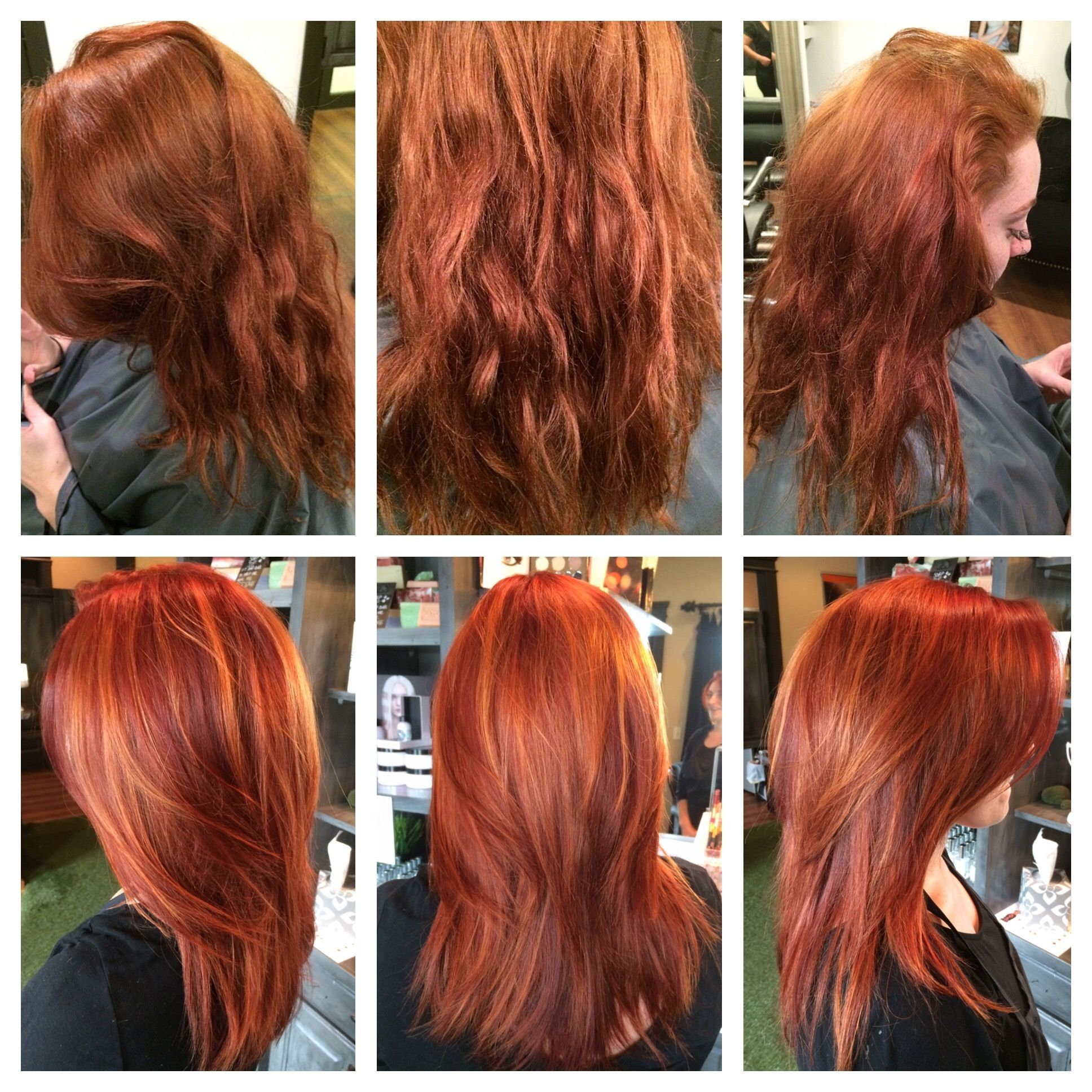 Before After Redhead Red Hair Copper Balayage Gold Balayage Hair Brunette Long Red Hair With Highlights Merlot Hair Color