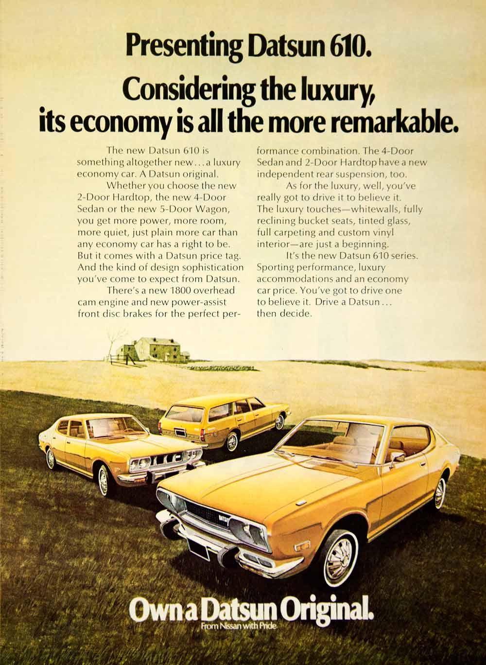 1972 Ad Datsun 610 Hardtop Sedan Wagon Yellow Car Automobile Landscape YCD8