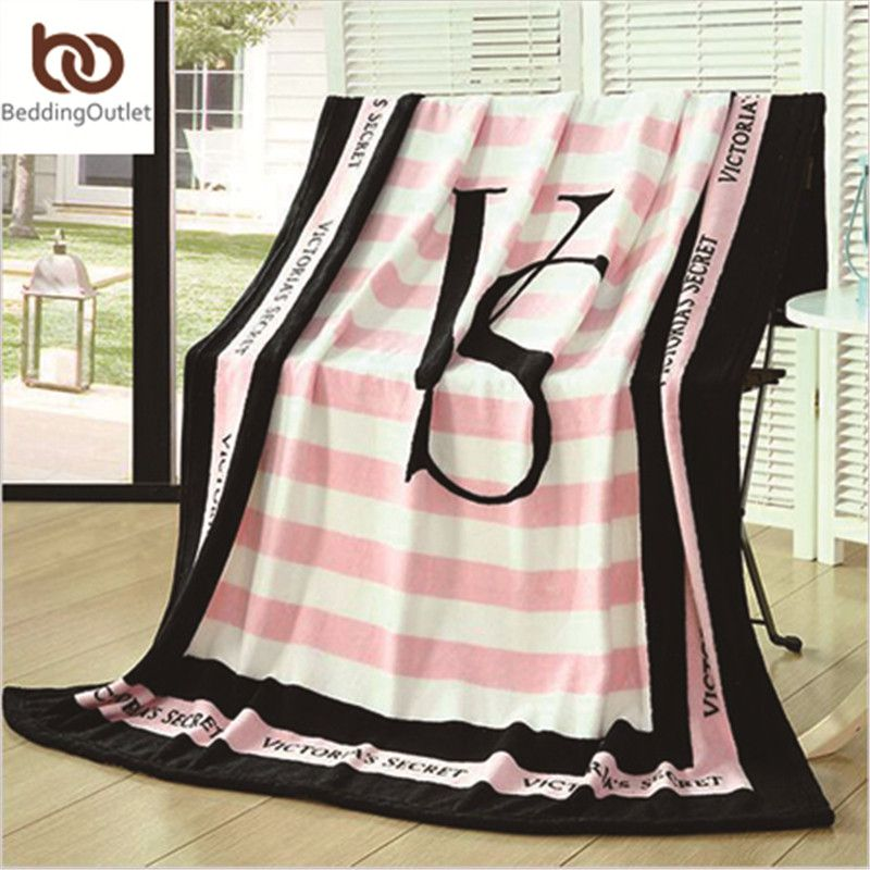 Pink Vs Secret Blanket Manta Fleece Blanket Throws On Sofa