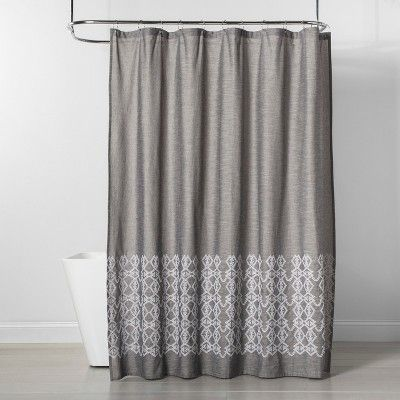 Embroidered Shower Curtain Gray Threshold Gray Shower