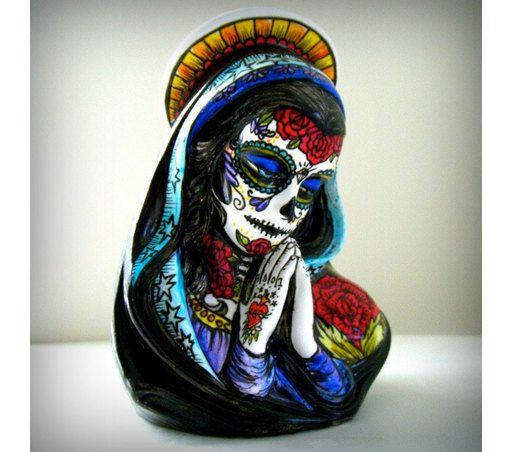 Ceramic Planter Virgin Mary Tattoo Day Of The Dead Sugar Skull Madonna Vase Hand Painted Sacred Heart Mexi Mexican Folk Art Sugar Skull Tattoos Day Of The Dead