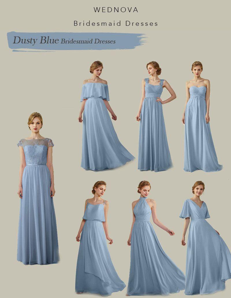 dusty blue bridesmaid dresses with lace illusion neck unique