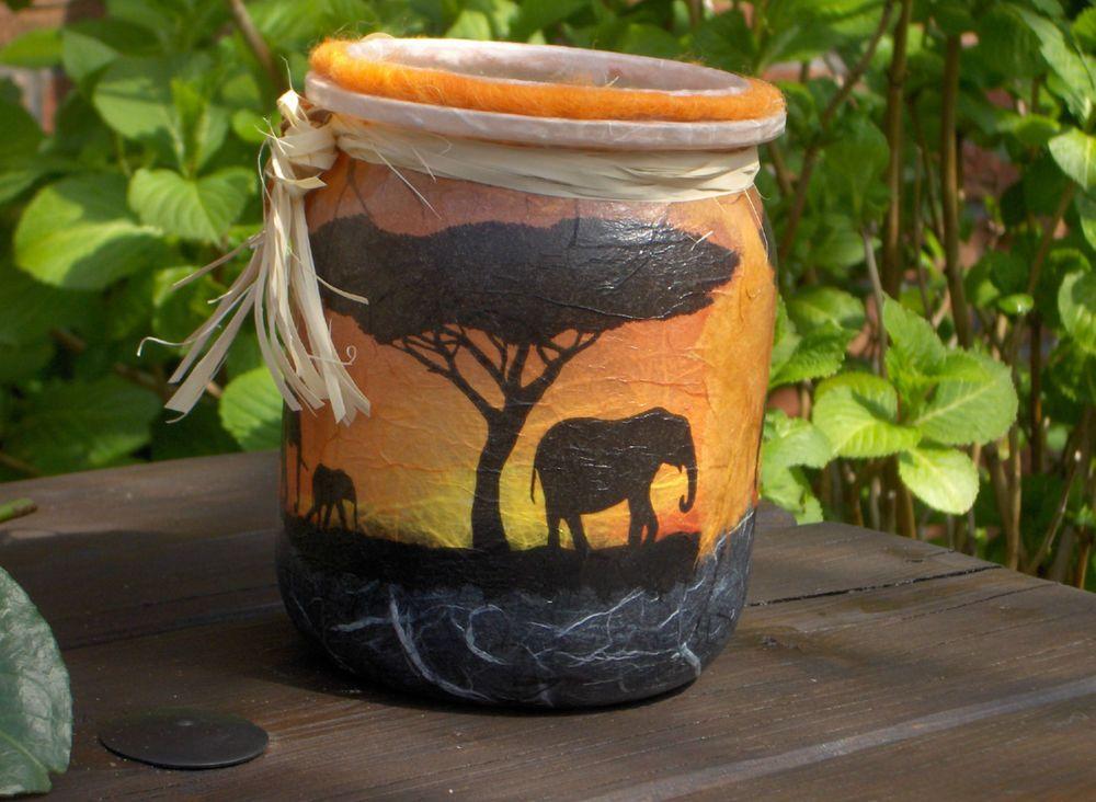 Afrika Leuchtglas Elefanten Savanne Sonnenuntergang Windlicht M Xxl Teelicht Leuchtglas Elefant Basteln Afrika Deko