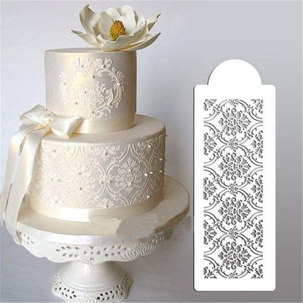 $0.99 - Damask Lace Border Cake Side Cupcake Stencil Sugarcraft ...